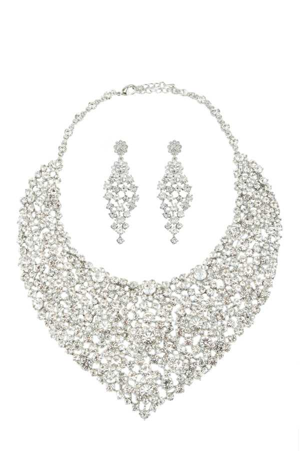 Rhinestone Jeweled Metal Casting Statement Necklace