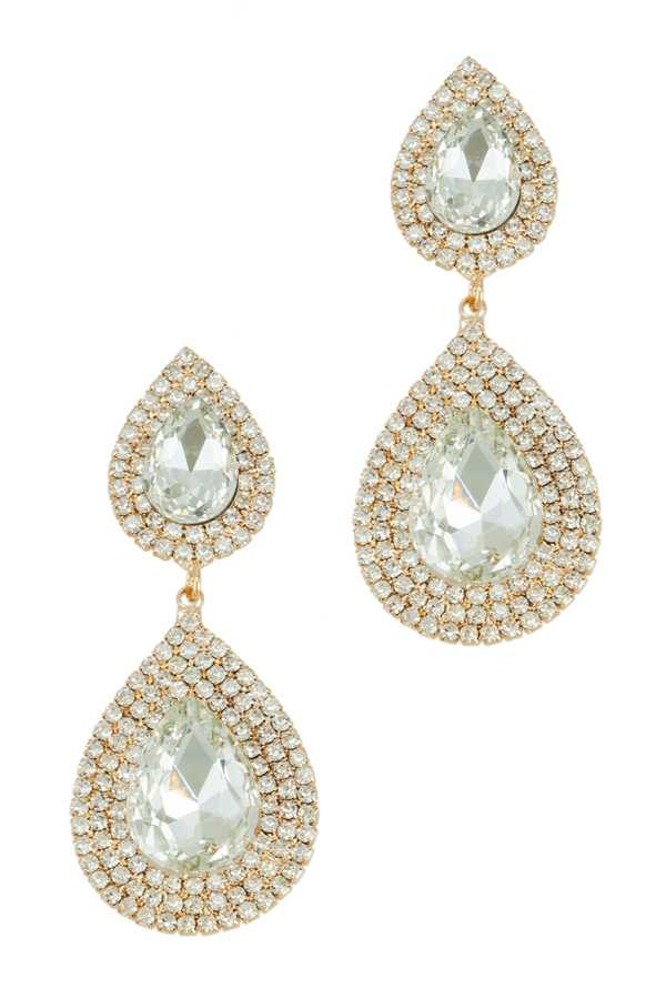 Tear Drop Shape Crystal Earring