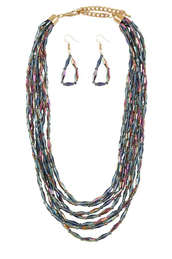 Multi Strand Geometric Beads Necklace