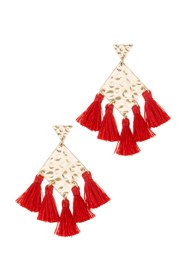 Hammered Metal with 5 Tassel Earring