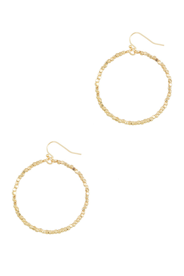 Brass Plated Metal Beads Hoop Earring