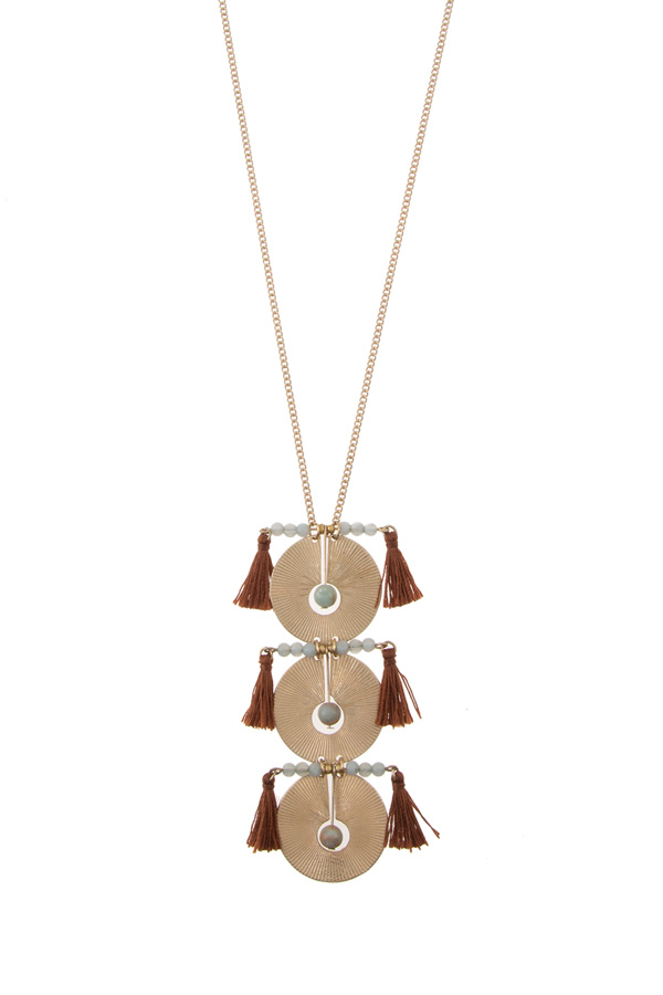 Circle metal pendant with tassel long necklace