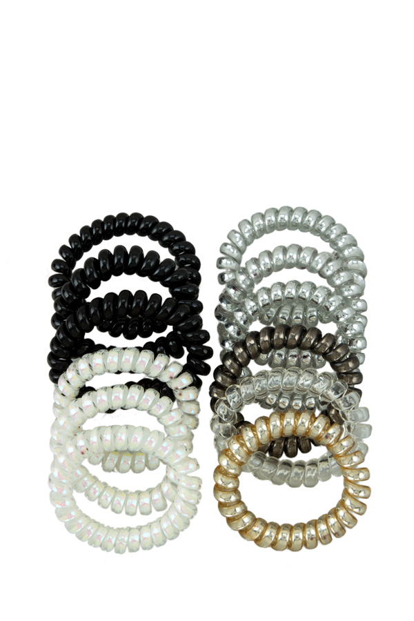 Metallic Color Tone Spiral Hair Tie Set