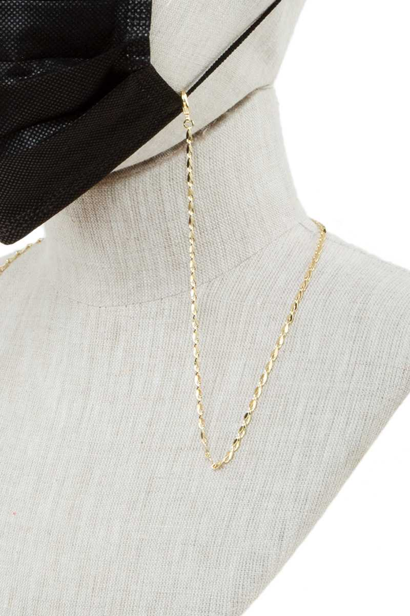 Gold Interlocking Metal Chain Face Mask Strap