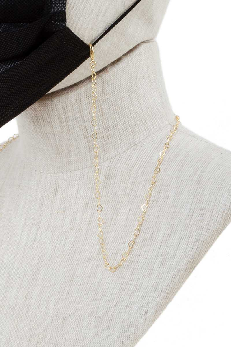 Gold Metal Simple Heart Chain Face Mask Strap