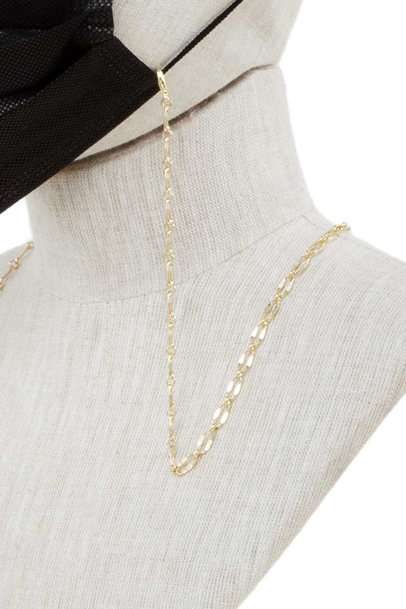 Gold Metal Textured Chain Face Mask Strap