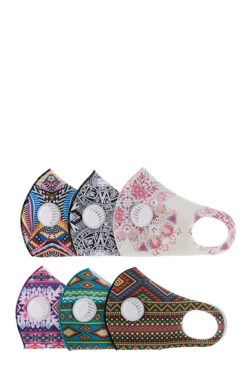 Assorted Aztec Print Face Mask with Filters
