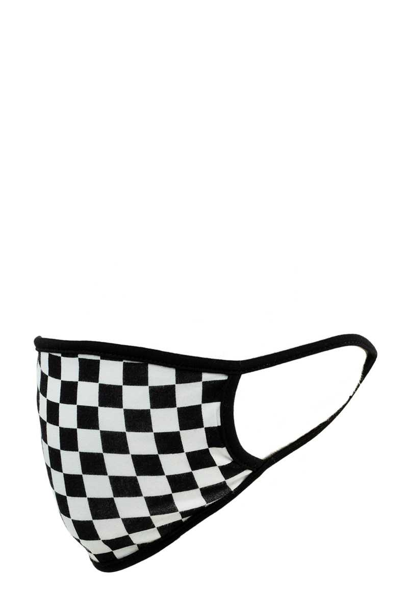 BLACK AND WHITE CHECK COTTON FACE MASK