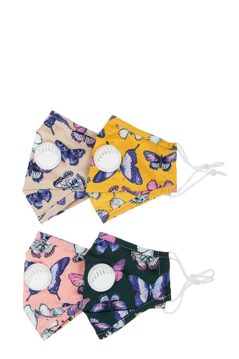 Assorted Color Butterfly Fabric Face Mask With Filter