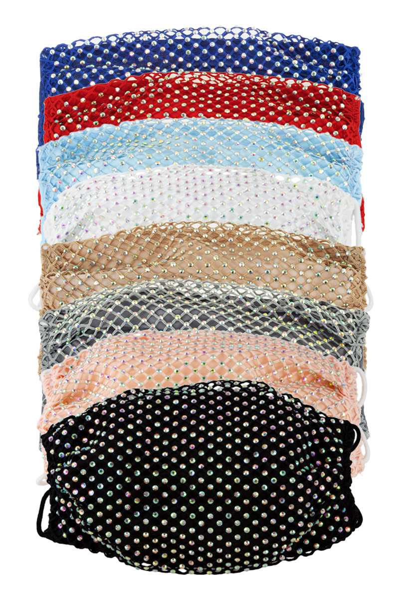 Assorted Color Rhinestone Mesh Face Mask