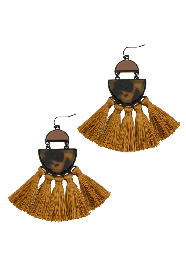 Half Circle with Tassel Earring