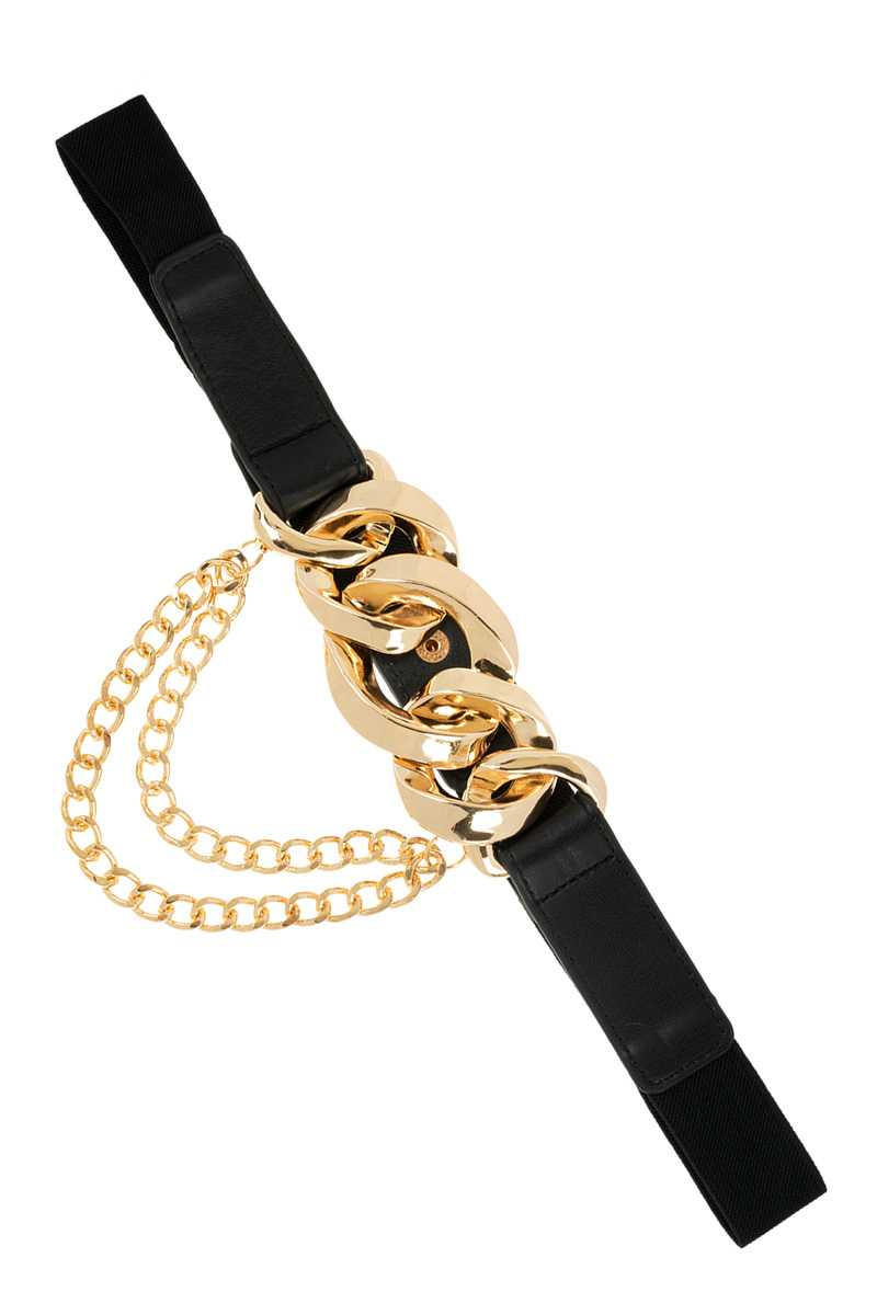 Linked Chain Buckle with Chain Drop Elastic Belt