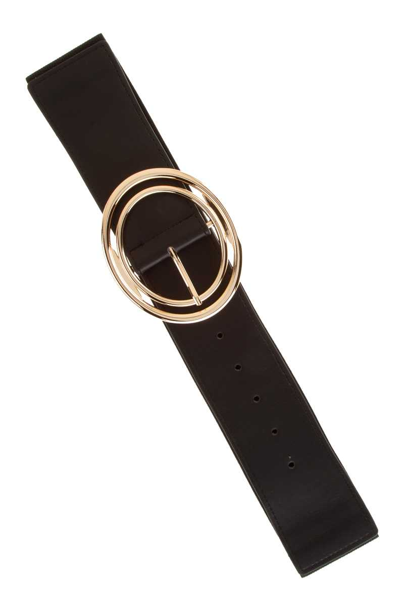 Double Oval Buckle Elastic Belt