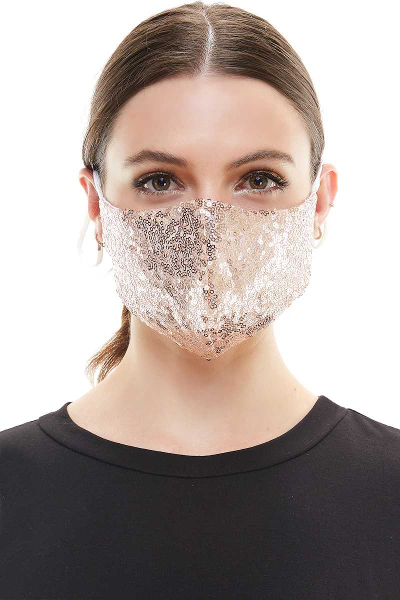 Gold Sequins Fashion Mask