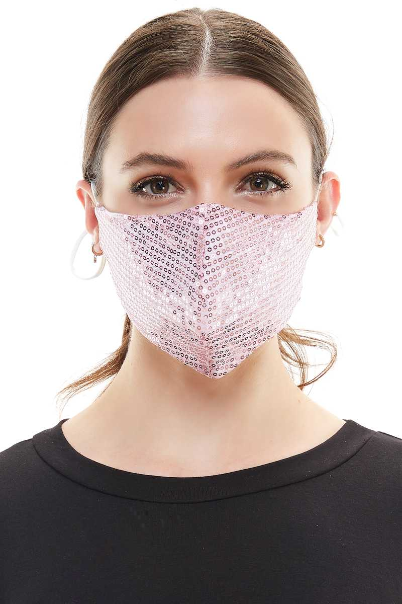 Pink Sequins Fashion Mask