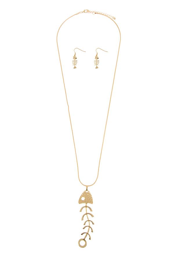 Fish bone pendant chain necklace set for Fish bone necklace