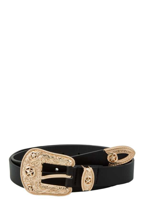 Star Accent Western Style Buckle Belt