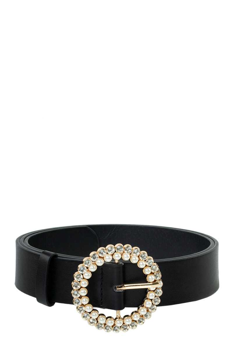 Pearl and Stone Round Buckle PU Belt