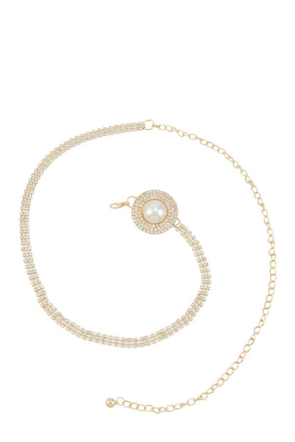 Pearl and Stone Round Buckle Chain Belt
