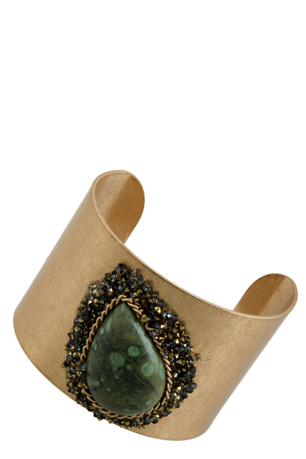 Big Stone Ornate Half Cuff Bracelet