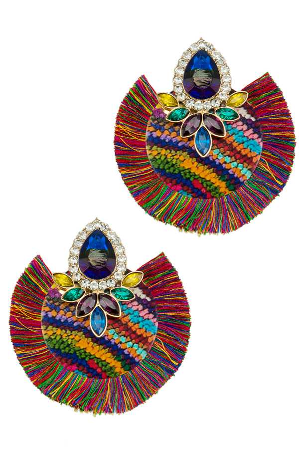 Multi Color Print Round Metal Stud Earring with Tassel