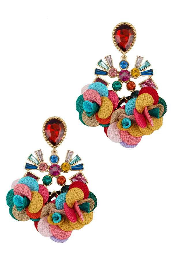 Casting Jeweled Earring with Fabric Flower Charm