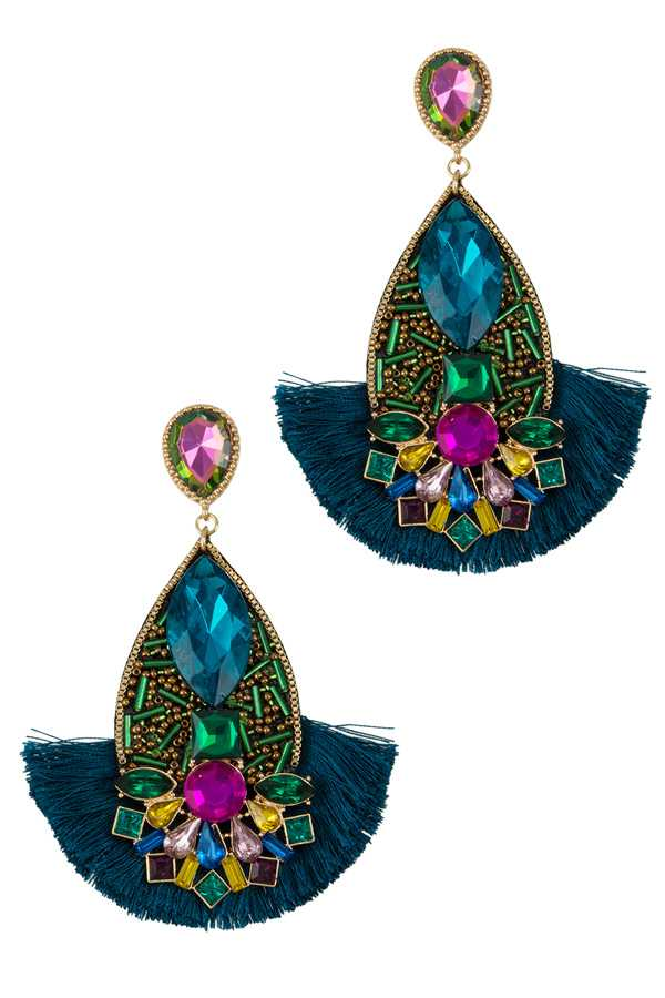 Beaded Teardrop with Tassel Dangle Stud Earring