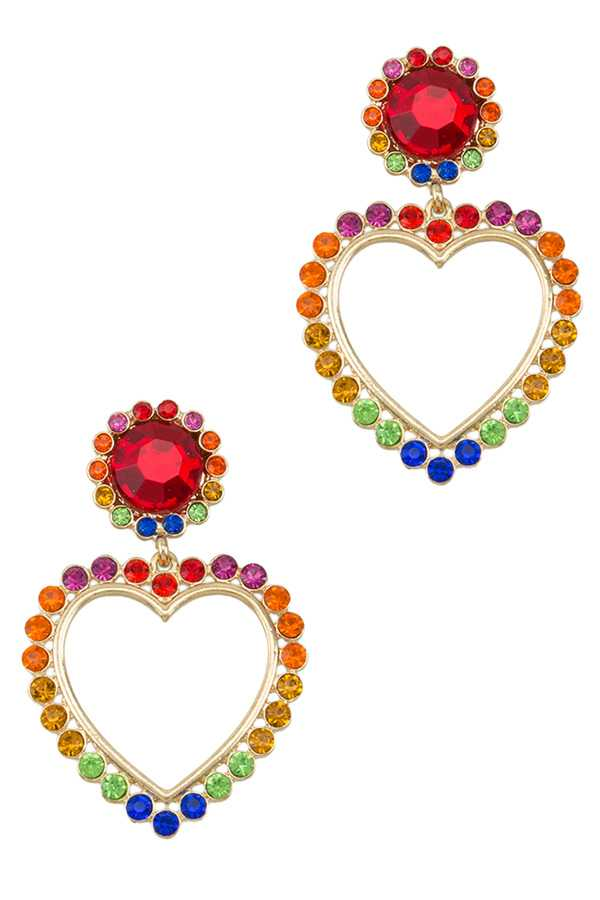 Multi Color Stone Heart Earring