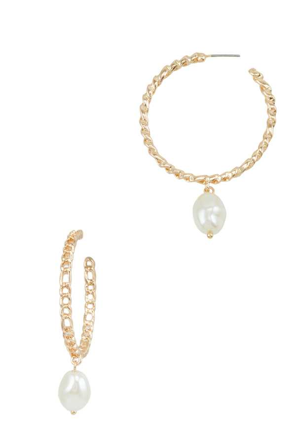 40mm Chain Hoop Earring with Pearl Charm