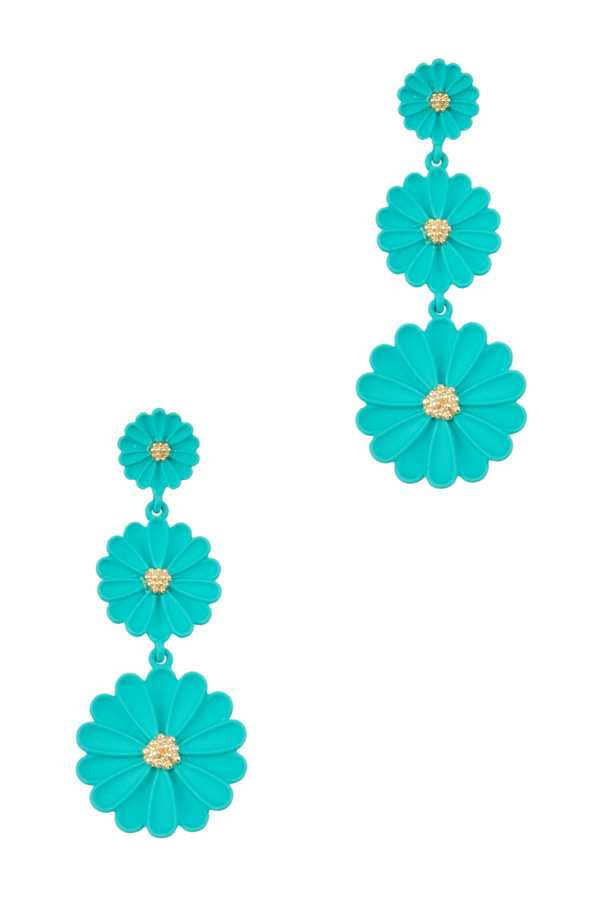Triple Flower Dangling Stud Earring