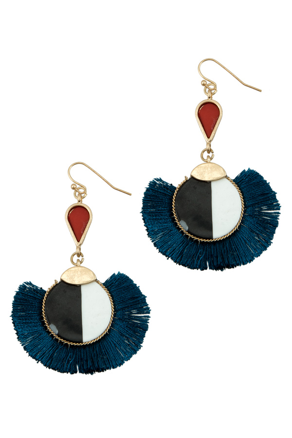 Two Tone Circle with Full Fringe Earring