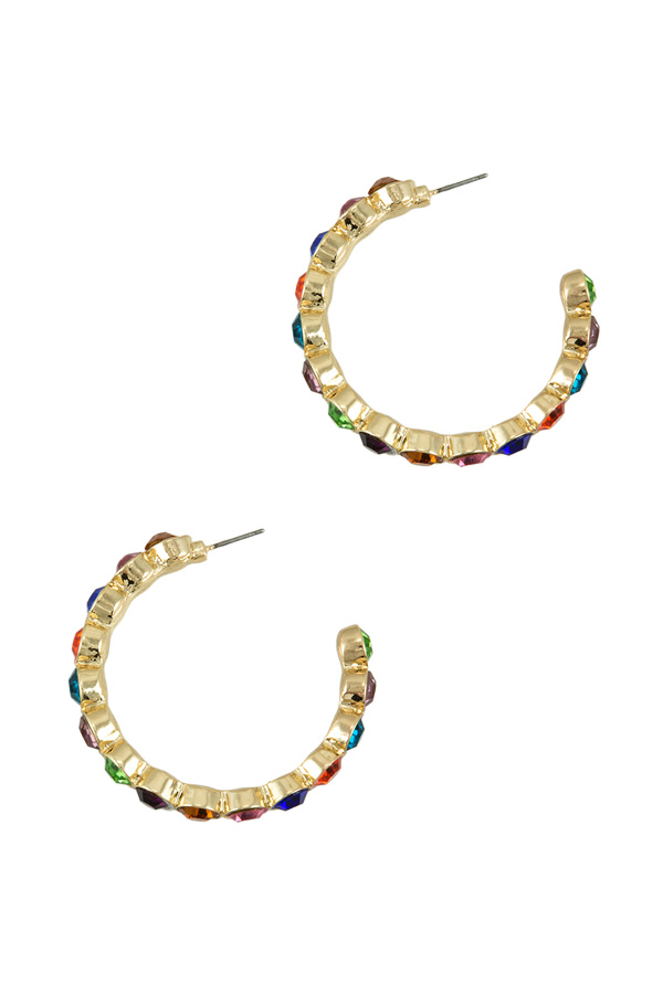 Large Multi Stud Open Hoop Earring
