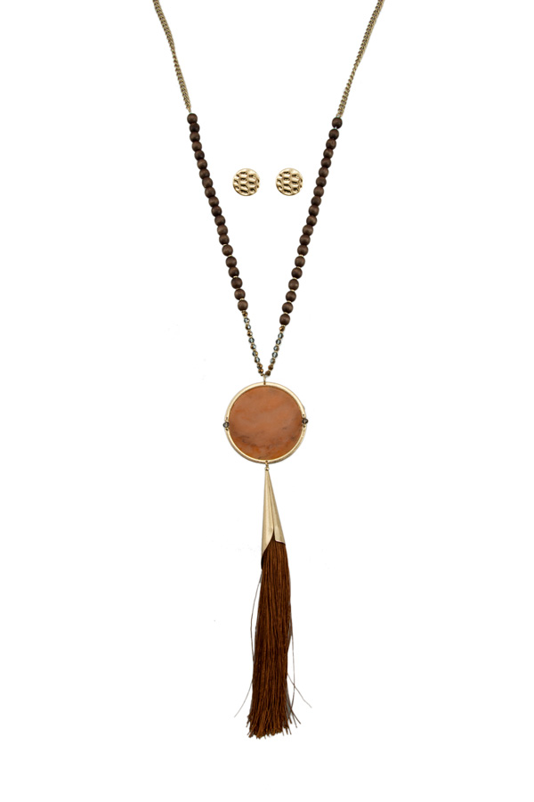 Circle Stone with Thread Tassel Long Necklace
