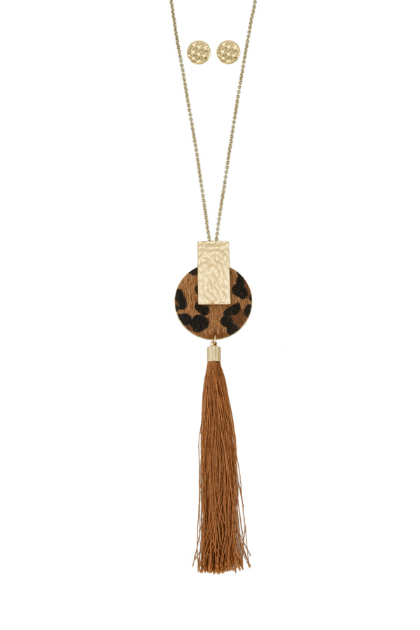 Leopard Circle with Tassel Long Necklace