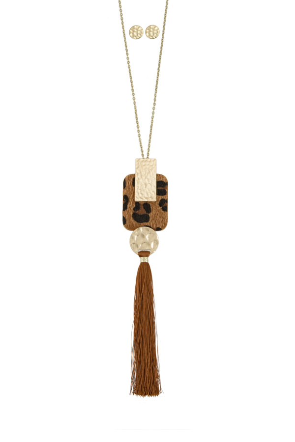 Leopard Square with Tassel Long Necklace