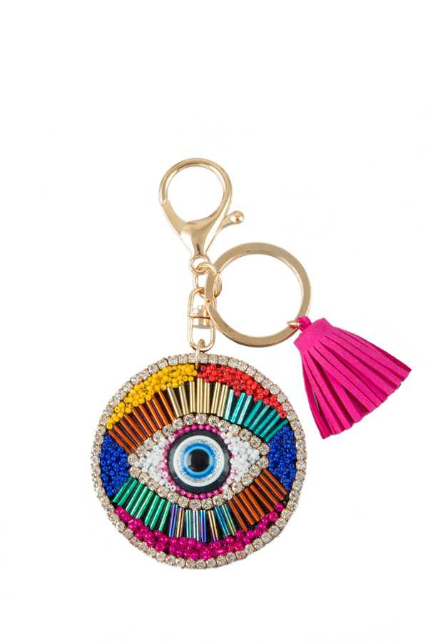 Beads and Rhinestone Decorated Evil Eye Keychain with Tassel