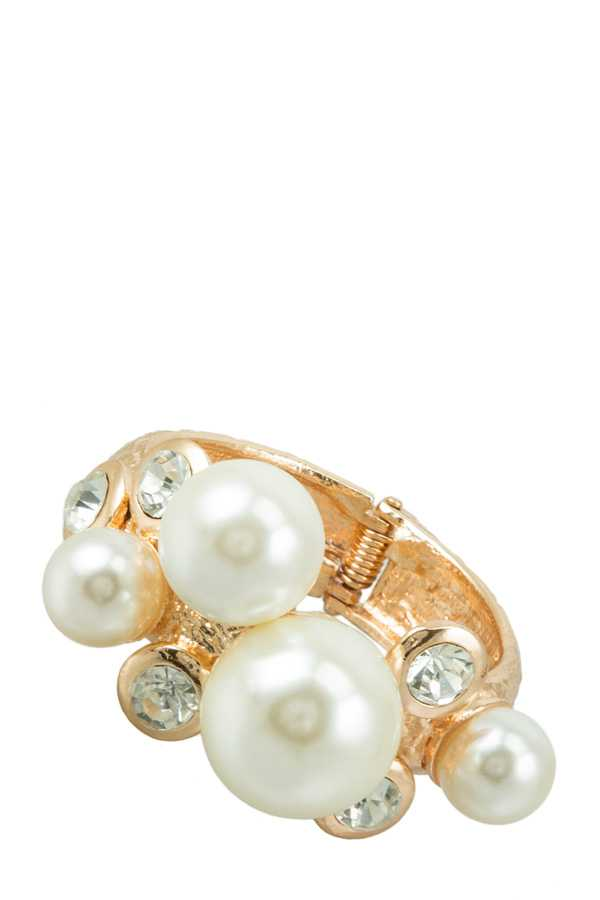 Pearl Ball and Rhinestone Accent Textured Metal Hinge Bracelet