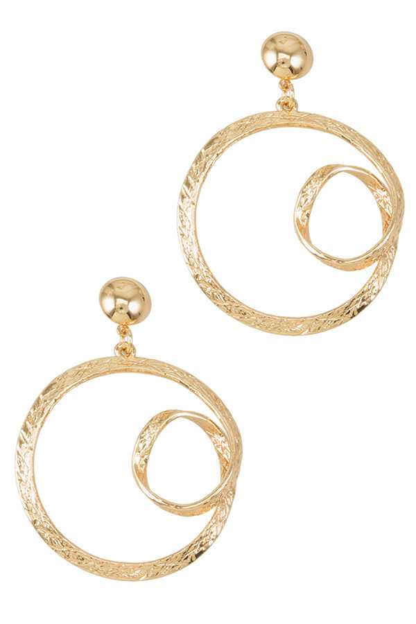 Twist Accent Textured Circle Drop Earring