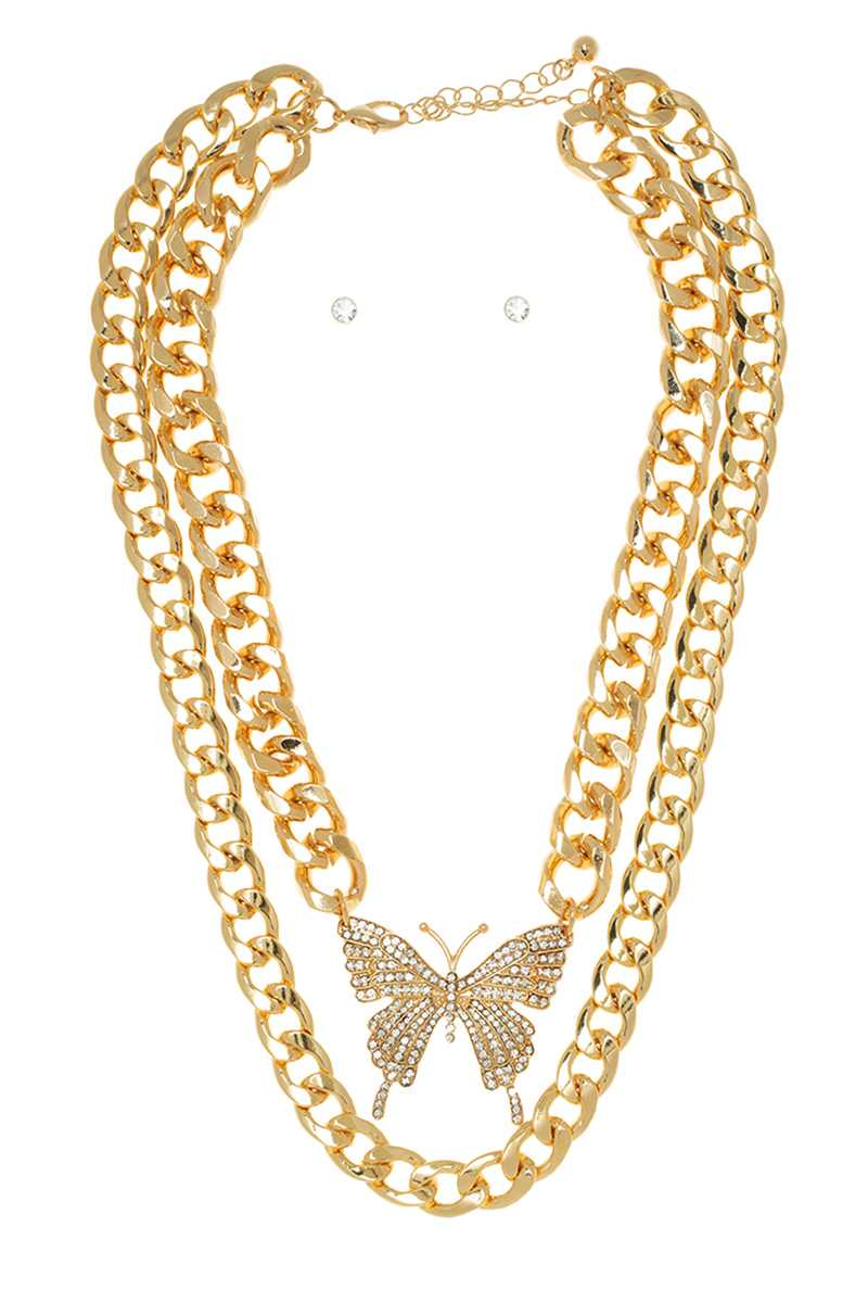 Multi Strand Metal Chain Necklace With Butterfly Pendant