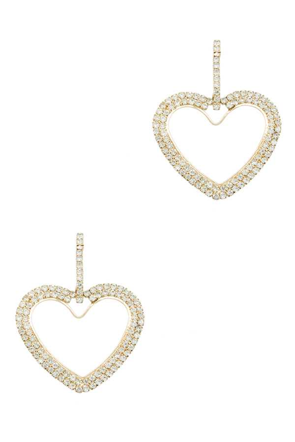 Rhinestone Heart Dangle Stud Earring