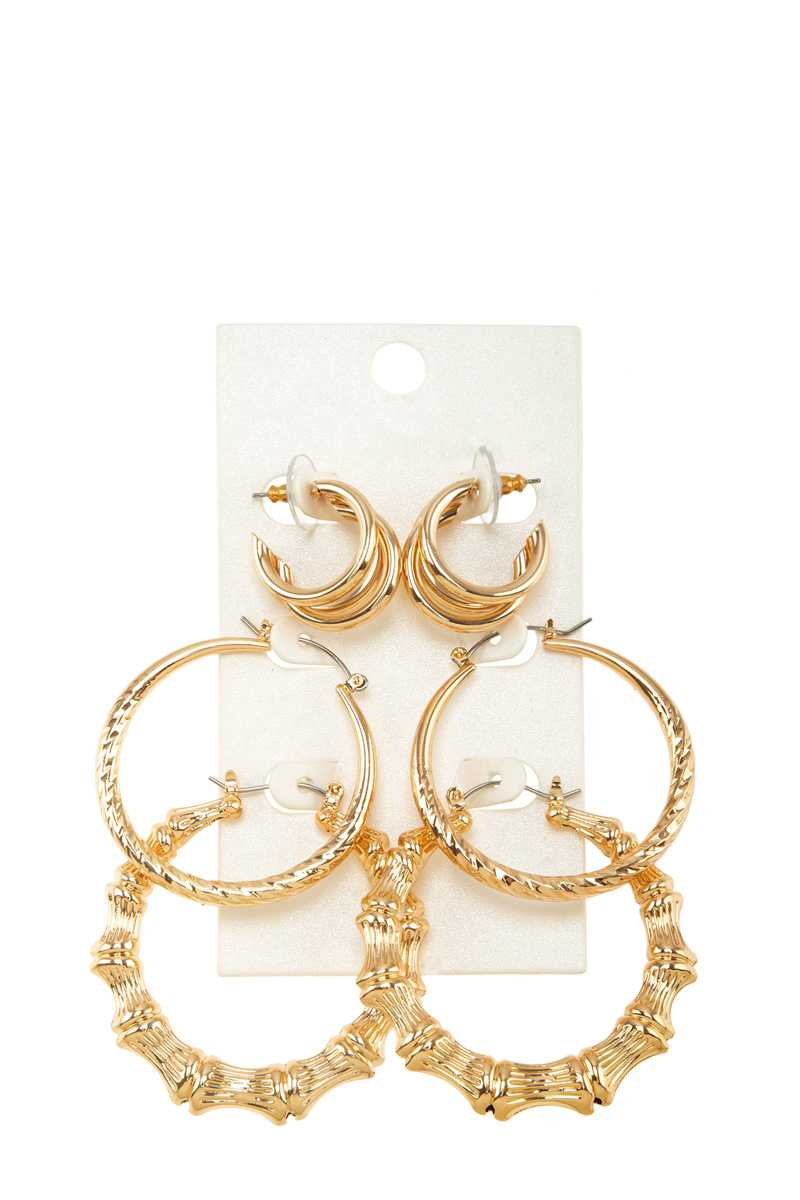 3 Pairs Bamboo and Textured Hoop Earring Set