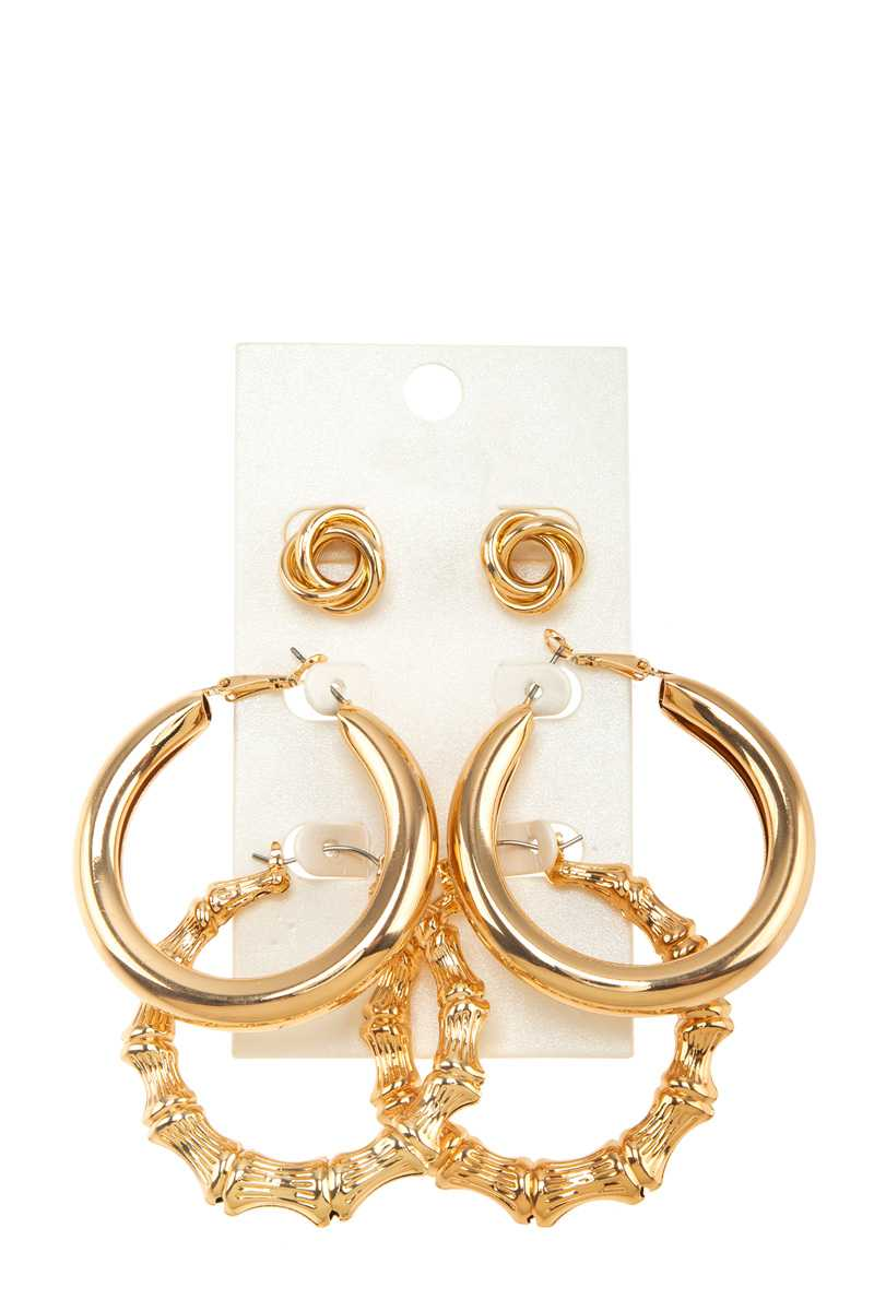 3 Pairs Hoop and Stud Earring Set