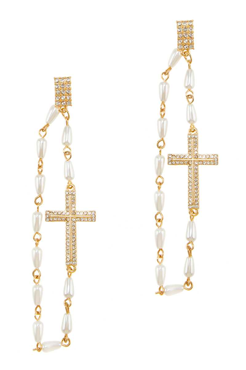 Cross Accent Pearl Drop Earring