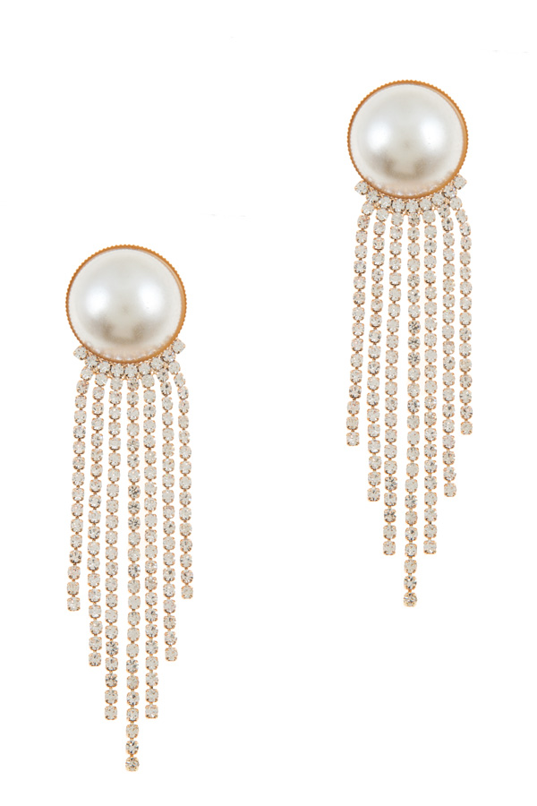 Big pearl with rhinestone chain fringe earring