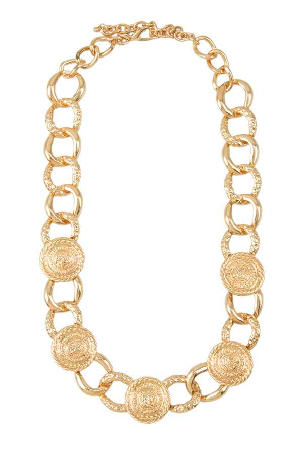 Greek Coin Linked Chain Necklace