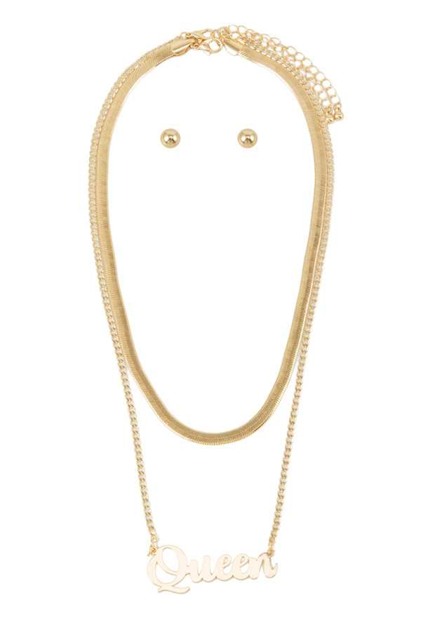 QUEEN Pendant Snake Chain Layered Necklace
