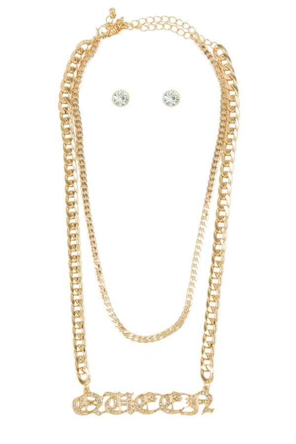 QUEEN Chain Layered Necklace