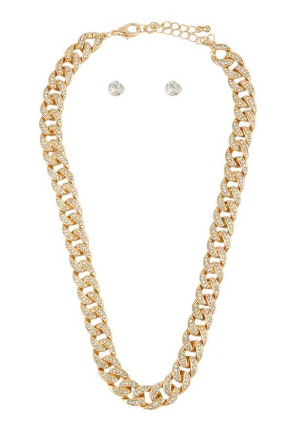 "18"""" Thick Cuban Chain with Rhinestone Accents"