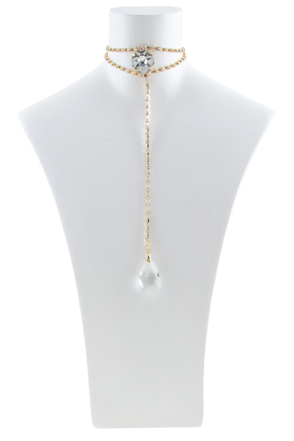 Rhinestone choker with teardrop crystal set