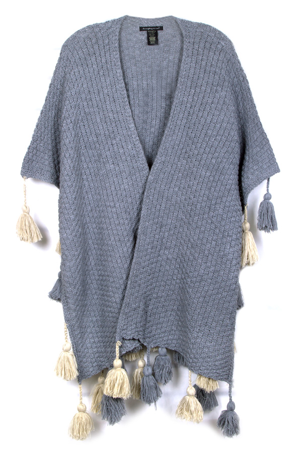Solid oversized ruana with tassel